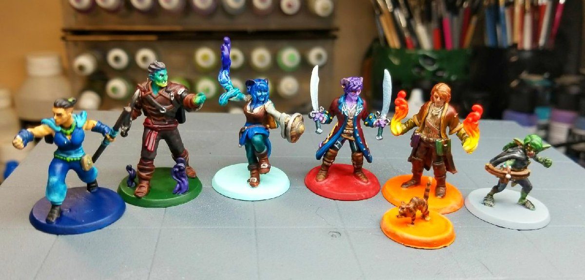 Colorfully painted miniatures