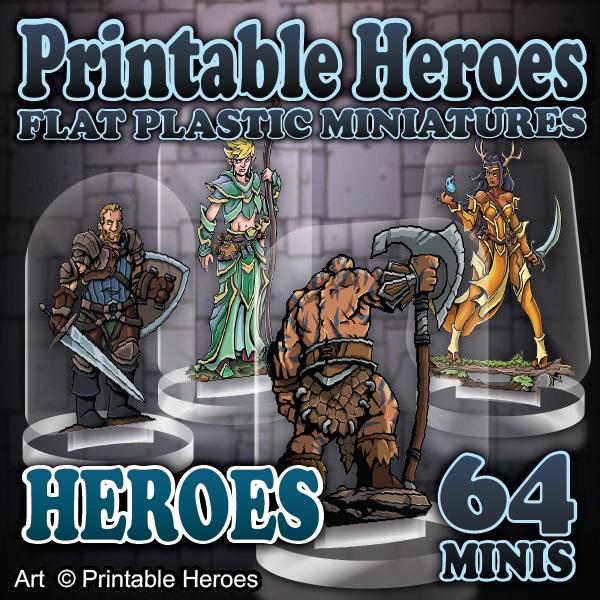 Flat Plastic Miniatures: Printable Heroes - Heroes Pack Game Box