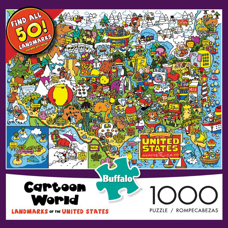 Cartoon World - Landmarks Of The Usa Puzzle (1000 Pieces) Box Front