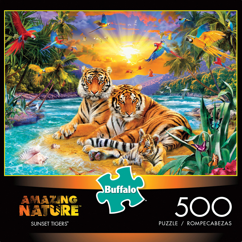Amazing Nature - Sunset Tigers Puzzle (500 Pieces) Box Front