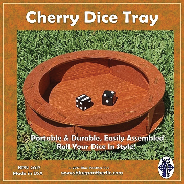 Dice Tray: Cherry Wood Round Box Front