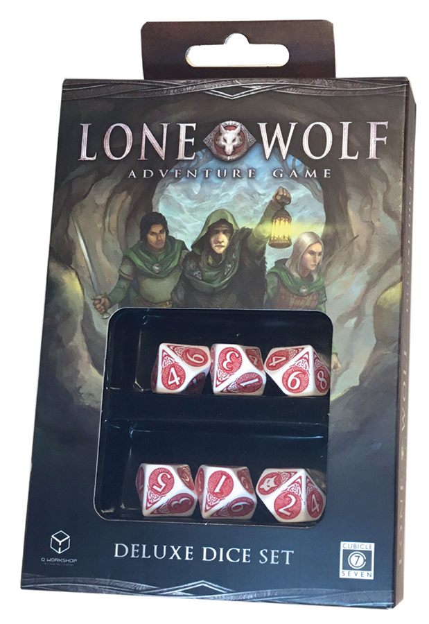 The Lone Wolf Adventure Game: Deluxe Dice Set Box Front