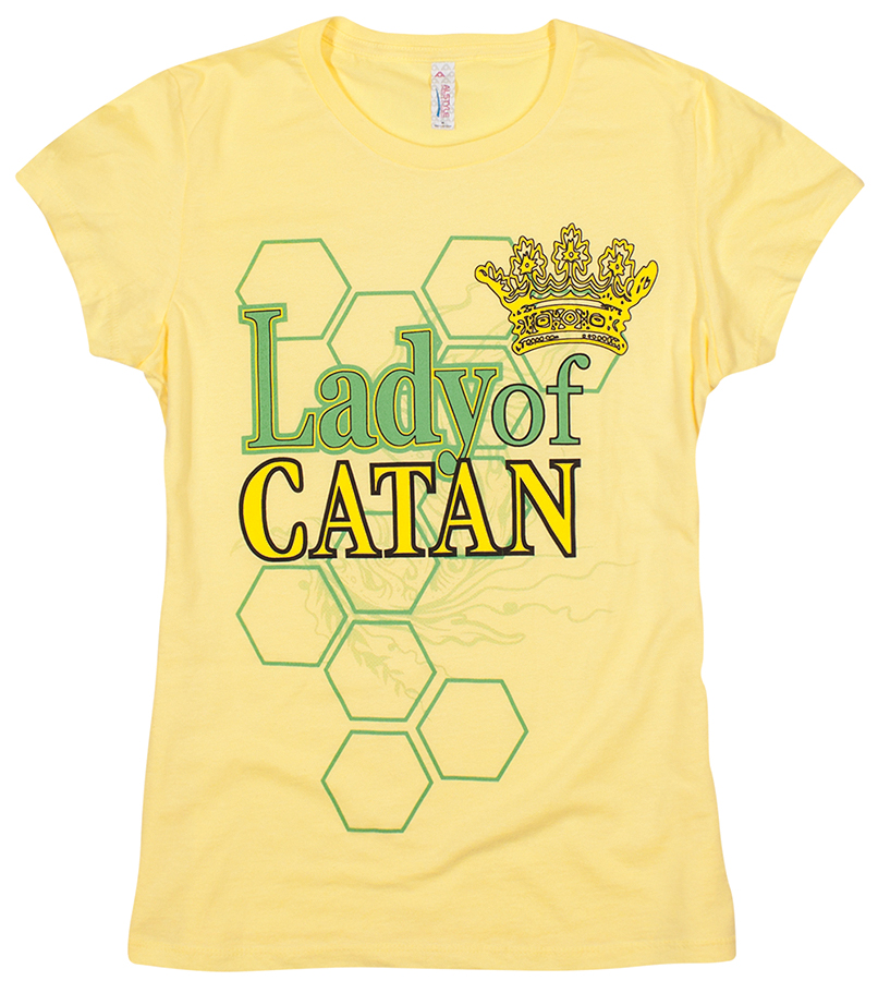 Catan: Ladies T-shirt `lady Of Catan` Yellow - 2x Box Front