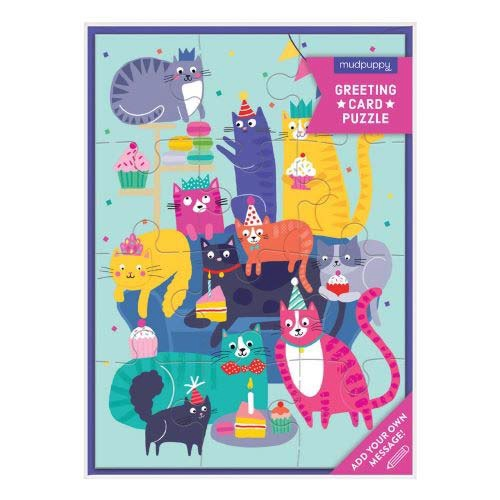 Cat Party Greeting Card Puzzle (12 Piece)