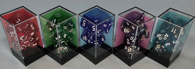 Translucent: Poly D10 Red/white (10) Revised Game Box