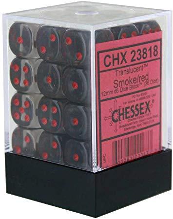Translucent: 12mm D6 Smoke/red (36)