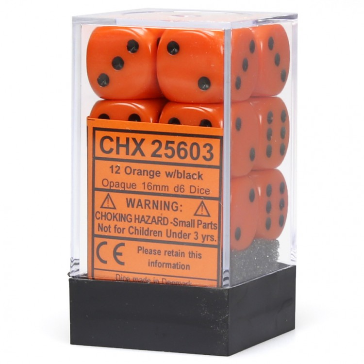 Opaque: 16mm D6 Orange/black (12)