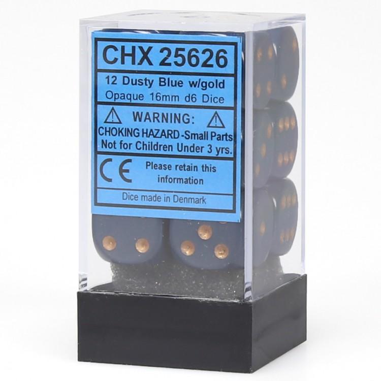 Opaque: 16mm D6 Dusty Blue/copper (12)