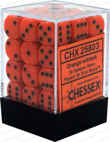 Opaque: 12mm D6 Orange/black (36)