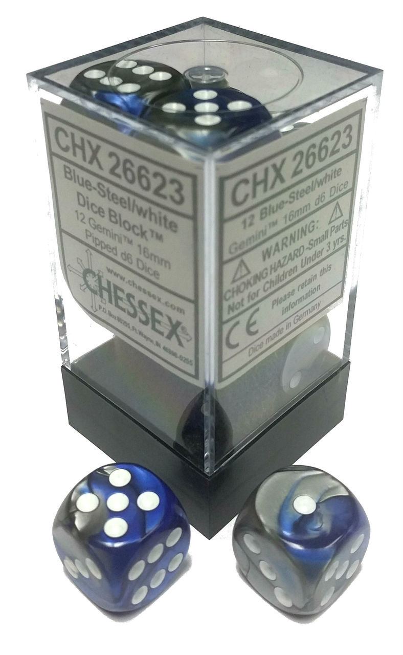 Gemini: 16mm D6 Blue Silver/white (12)
