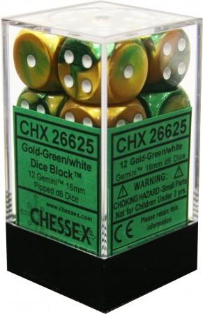 Gemini: 16mm D6 Gold Green/white (12)