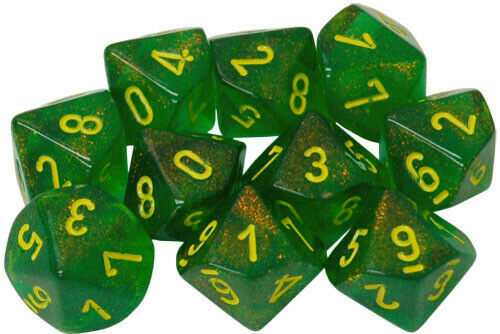 Dice Menagerie 10: Poly Borealis D10 Maple Green/yellow (10)
