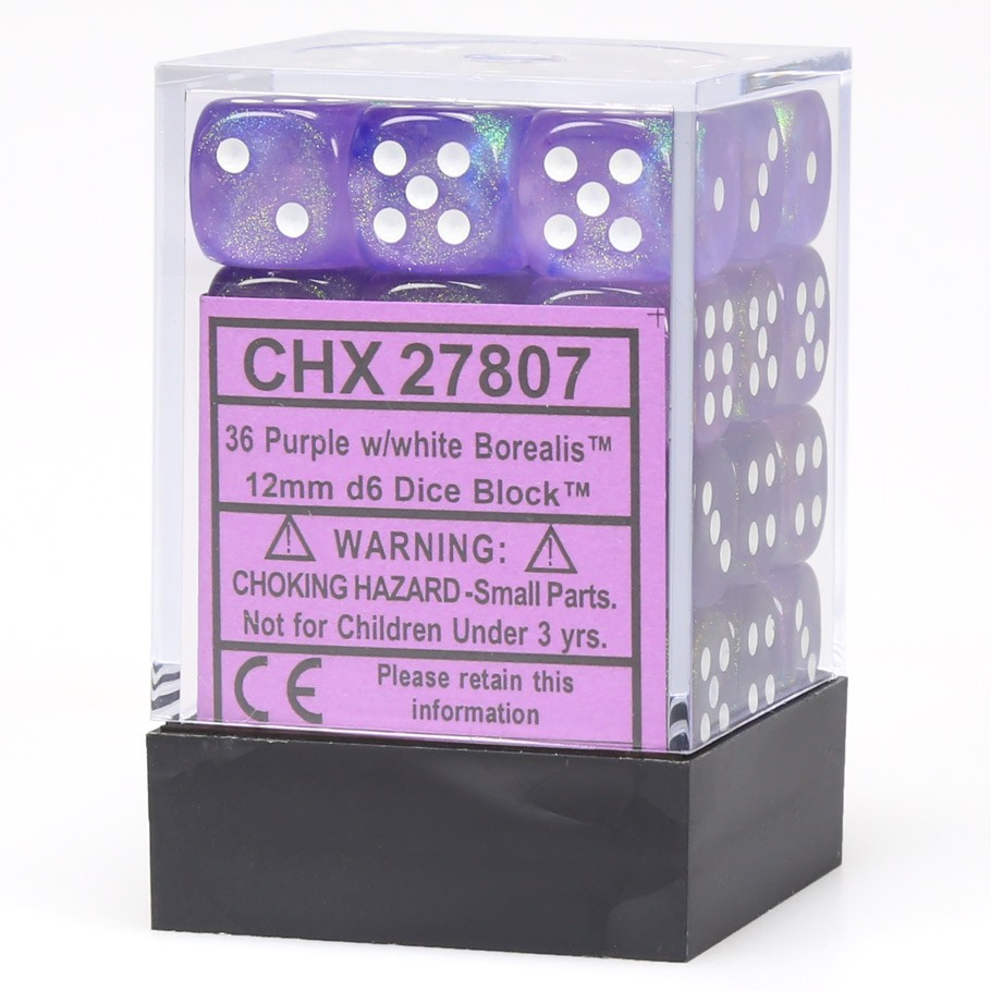 Borealis: 12mm D6 Purple/white/black (36)