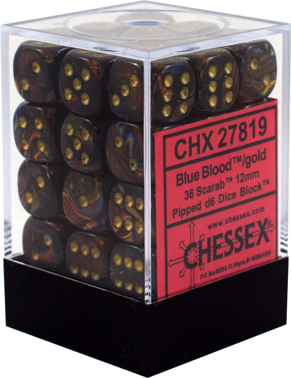 Dm5 Scarab 12mm D6 Blue/blood/gold (36)