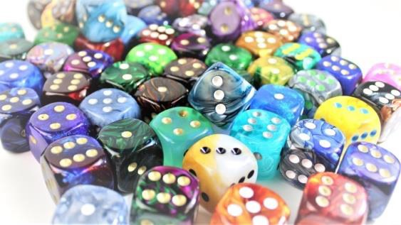20mm 6-sided Dice W/pips Sale Bag (d6 X72)