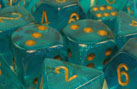 Borealis 2: Poly Teal/gold Bag Of Dice (20) Box Front