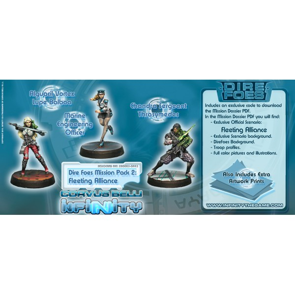 Infinity: Dire Foes Mission Pack 2 - Fleeting Alliance (nomads Vs Aleph) Lupe Balboa, Thrasymedes, Marine Engineering Officer Box Front