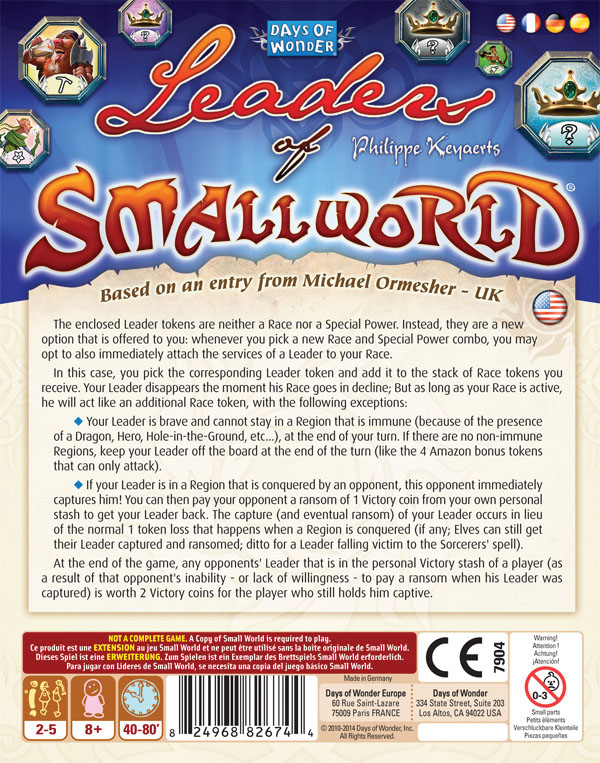 Small World: Leaders Of Small World Box Front