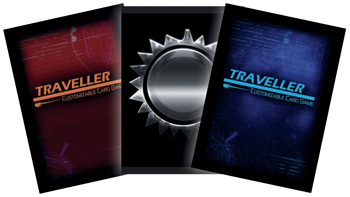 Traveller Ccg: Card Sleeves A (50) Red Traveller Logo Box Front