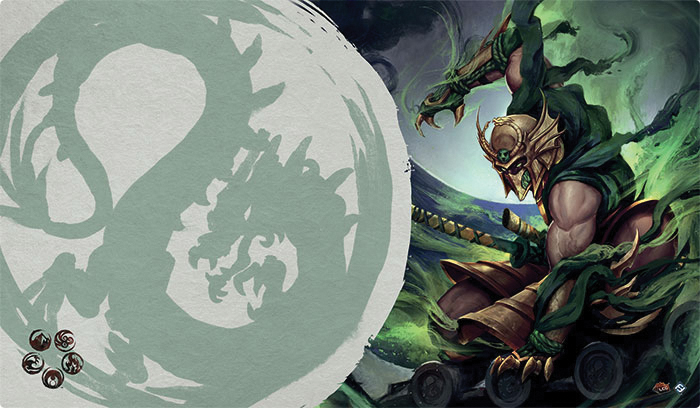 Legend Of The Five Rings Lcg: Master Of The High House Of Light Playmat (dragon Clan) Box Front