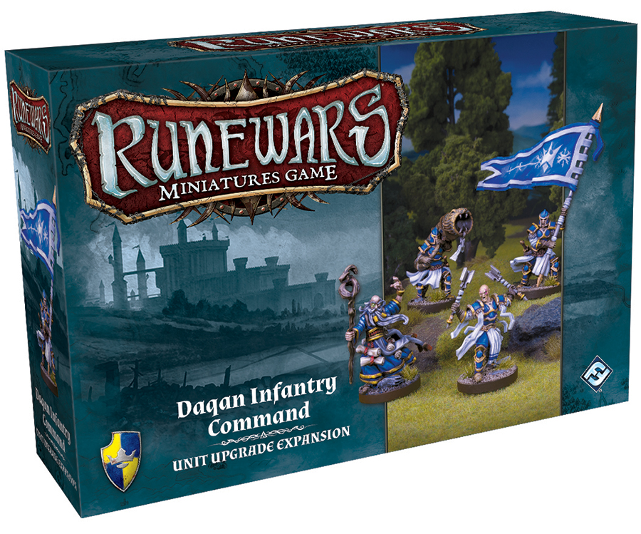 Runewars: The Miniatures Game - Daqan Infantry Command Unit Upgrade Expansion Box Front