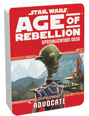 Star Wars Rpg: Age Of Rebellion - Advocate Specialization Deck Box Front