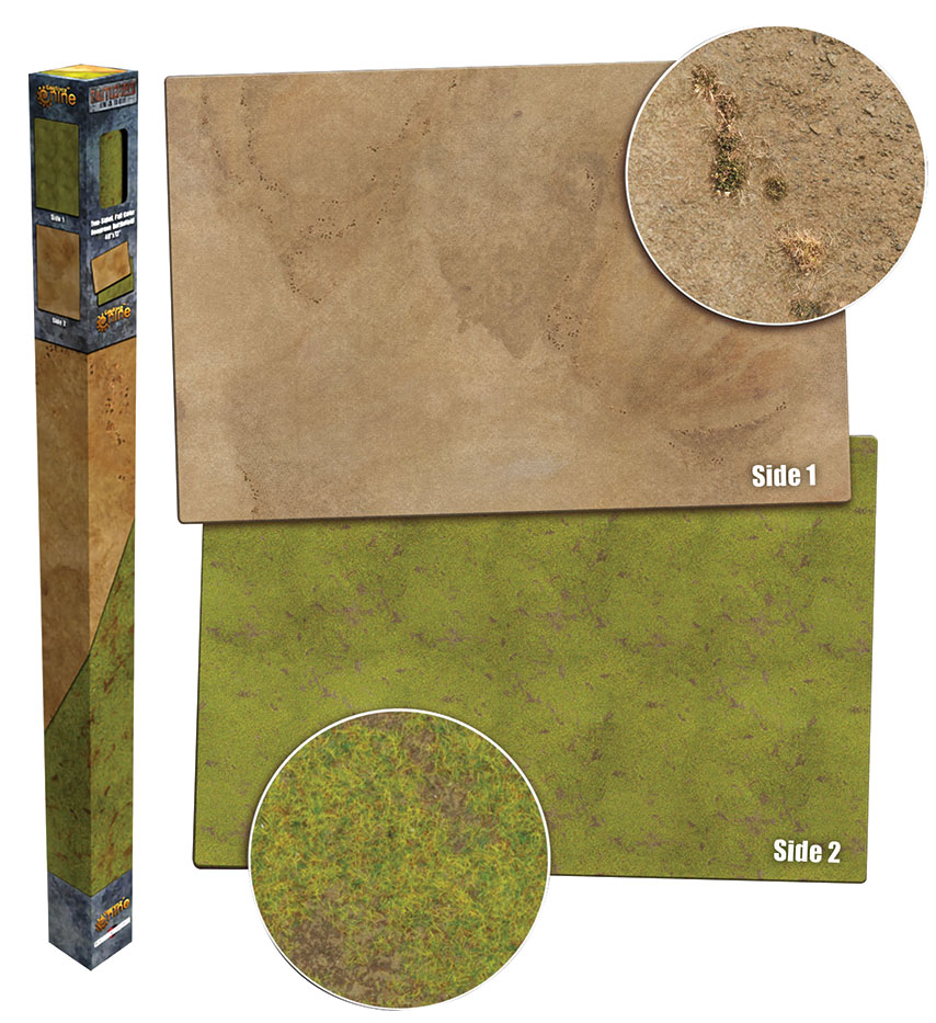 Grassland/desert Double Sided Gaming Mat 48in X 72in Box Front