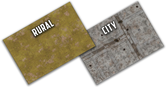 City/rural Double-sided Gaming Mat 48in X 72in Game Box