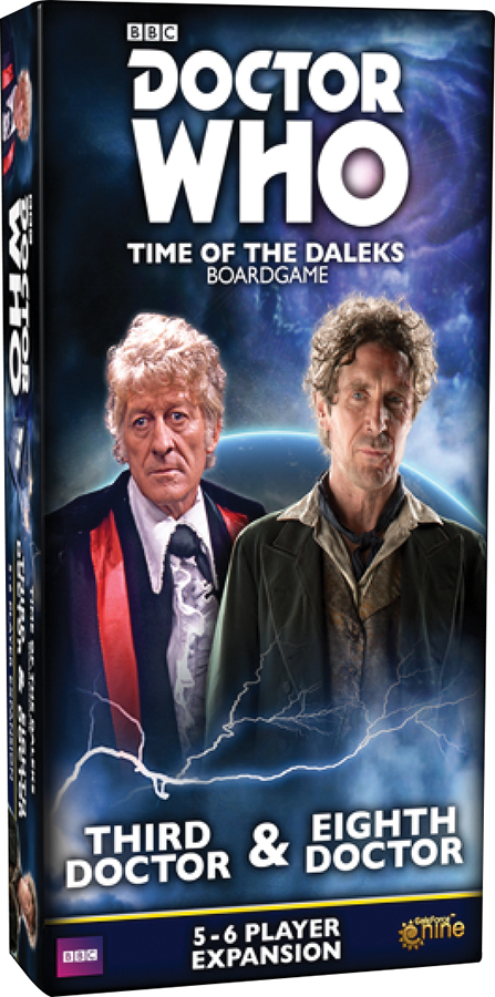 Doctor Who: Time Of The Daleks Board Game - Third Doctor And Eighth Doctor 5-6 Player Expansion Box Front