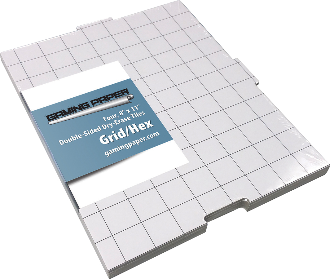 Gaming Paper Double Sided 8 X 11 Dry Erase Interlocking Tiles Grid/hex 4 Pack Box Front