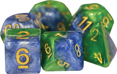 Halfsies Dice - Mother Earth (7 Polyhedral Dice Set) Box Front