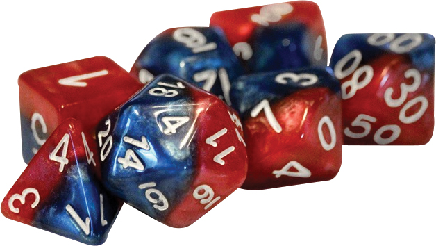 Halfsies Dice - Spider-dice (7 Polyhedral Dice Set) Box Front