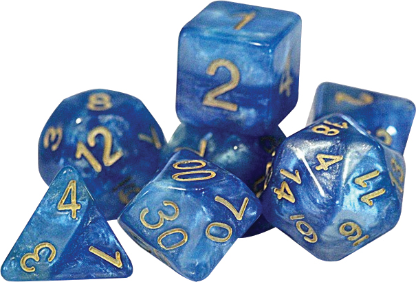 Halfsies Dice - Sky Current (7 Polyhedral Dice Set) Box Front