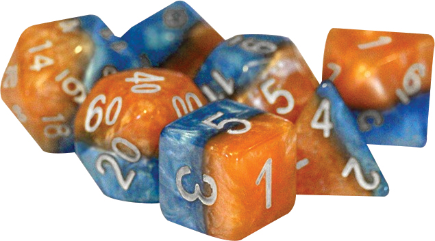 Halfsies Dice - Fire & Dice (7 Polyhedral Dice Set) Box Front
