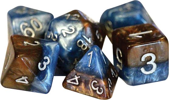 Halfsies Dice - Earth Elemental (7 Polyhedral Dice Set) Box Front