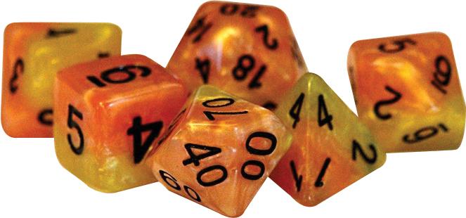 Halfsies Dice - Phoenix (7 Polyhedral Dice Set) Box Front