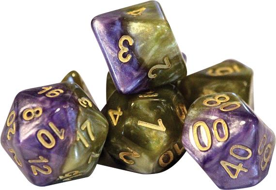 Halfsies Dice - Queen`s Dice (7 Polyhedral Dice Set) Box Front