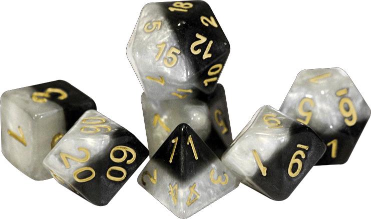 Halfsies Dice - Yin Yang Gold (7 Polyhedral Dice Set) Box Front