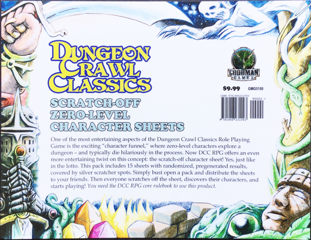 Dungeon Crawl Classics Rpg: Zero Level Scratch Off Character Sheets Box Front
