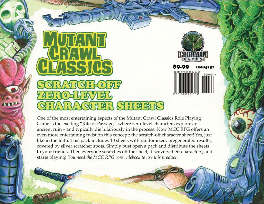 Mutant Crawl Classics Rpg: 0-level Scratch Off Character Sheets Box Front