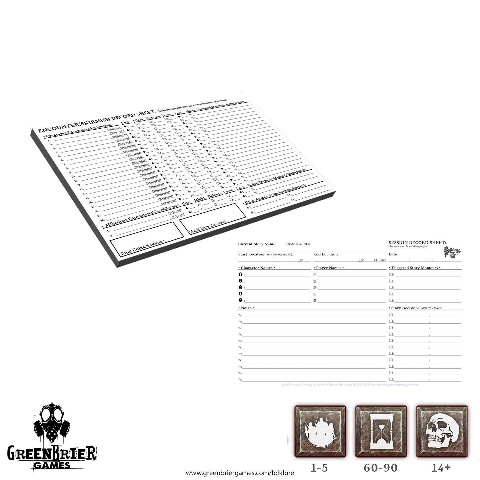Folklore: The Afflition - Encounter Record Pad Game Box