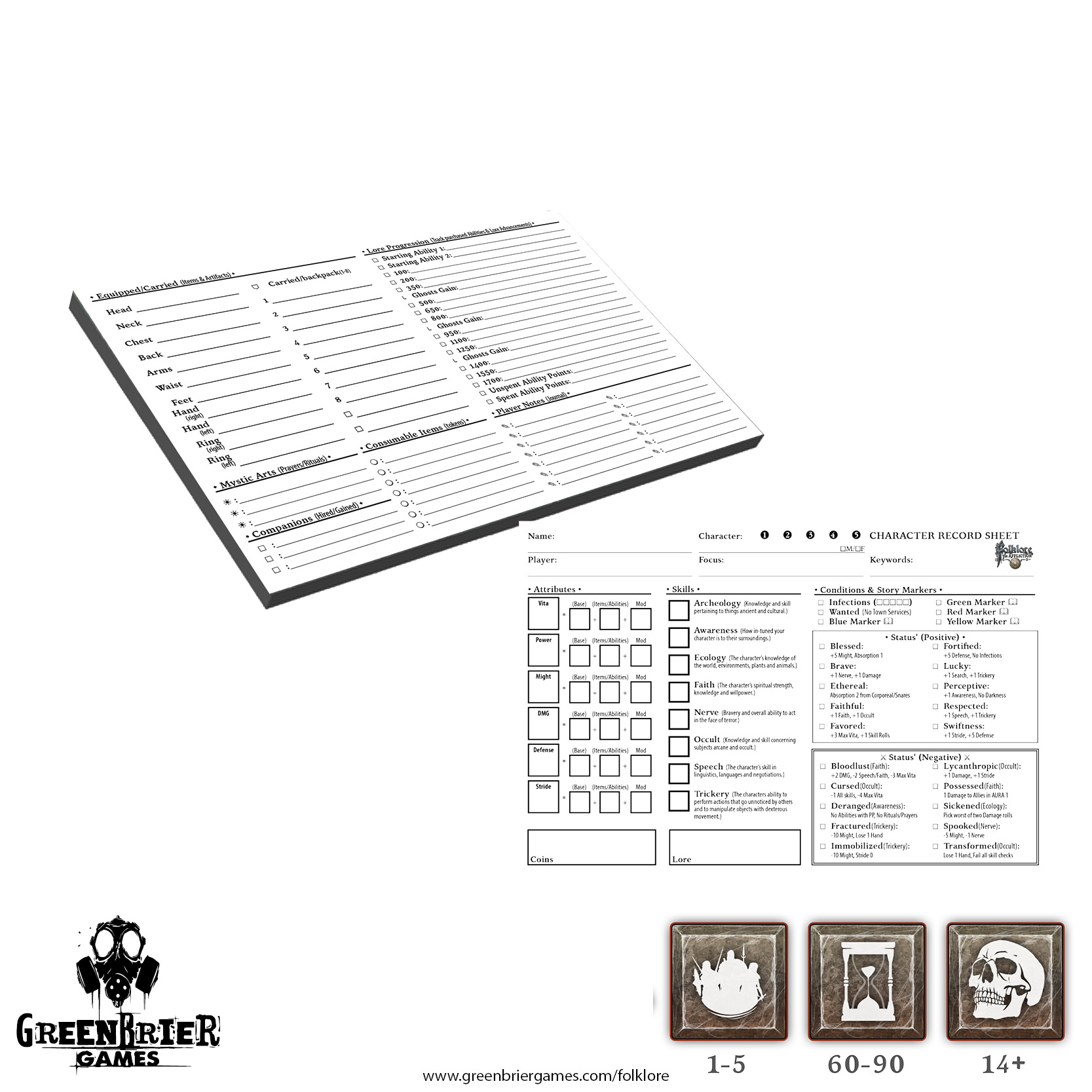 Folklore: The Afflition - Character Record Pad Game Box