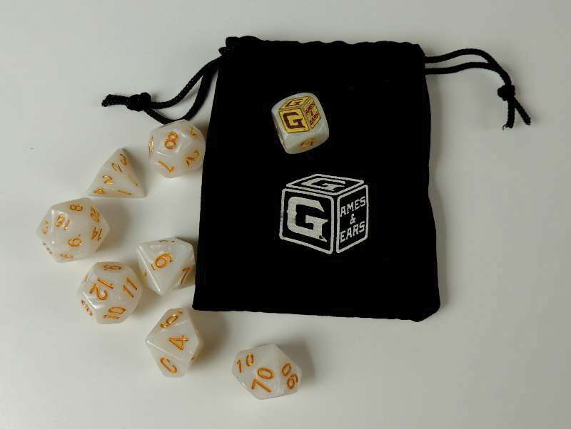 Games And Gears Rpg Heroic White Dice Set (7) With Bag Box Front