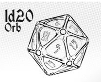 1d20 Orb - Ethereal Ice With Burning Blue Game Box