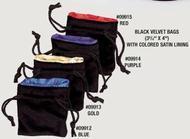 Dice Bag: Black Velvet Gold Satin Lined (small) Box Front