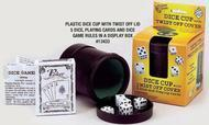 Dice Cup: Dice Cup/lid With 5 Dice And Cards Box Front