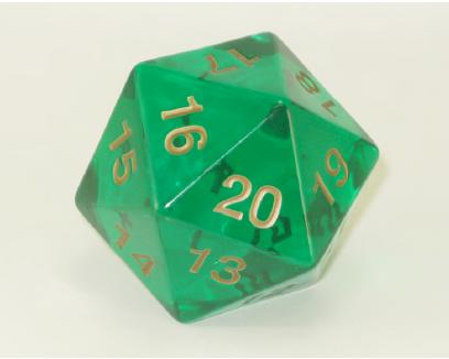 Transparent: 55mm D20 Countdown Emerald/gold  Box Front