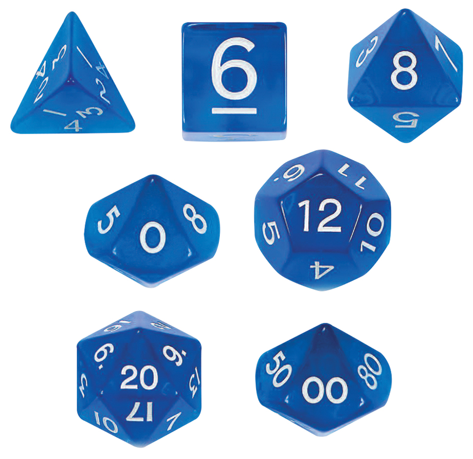 Transparent: Poly Jumbo D8 Blue Die Box Front