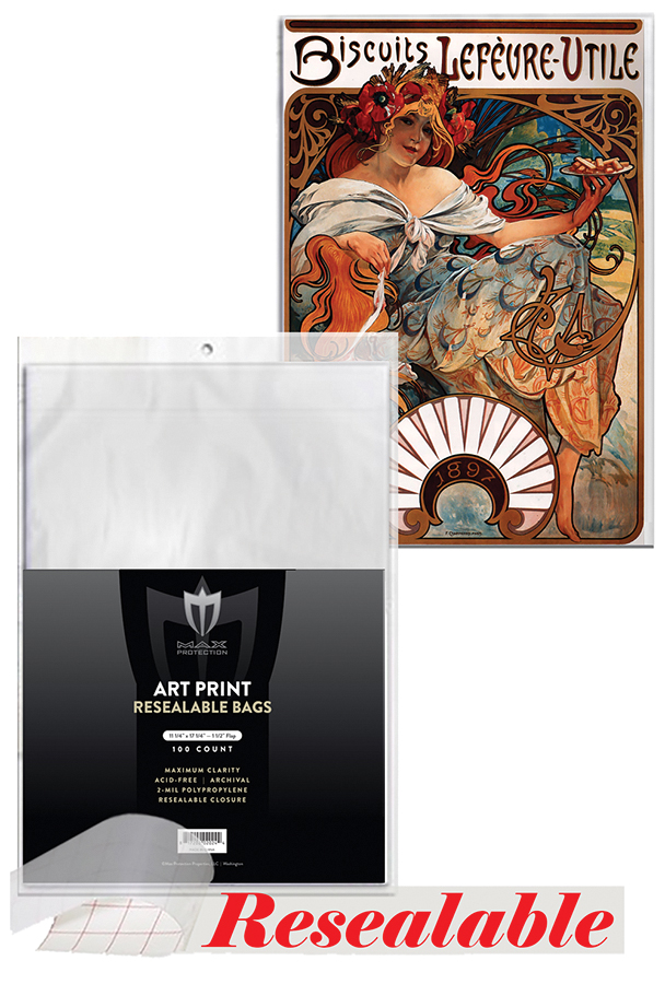 Art Print Bags 11in X 17in - Resealable (100) Box Front