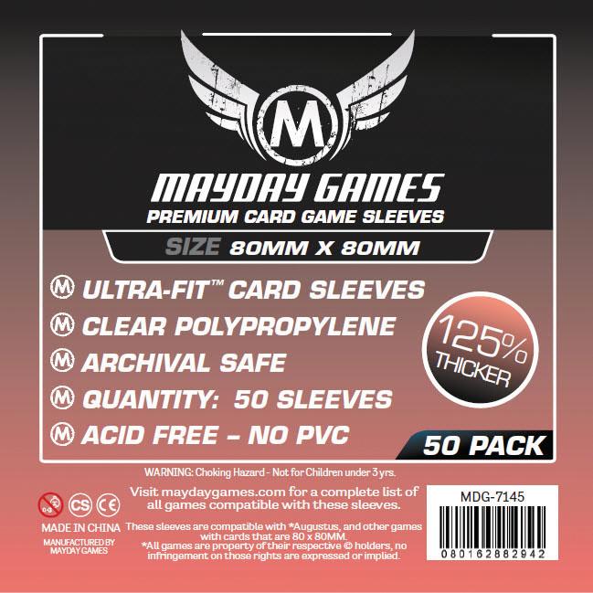 Sleeves: Premium Medium Square Card Sleeves 80mm X 80mm (50) Box Front